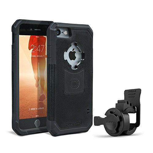 Rokform iPhone 7 Crystal Series Ultra-Light Dual Compound Protective Phone Case with Patented twist lock mount and universal magnetic car mount. (Clear / Black)
