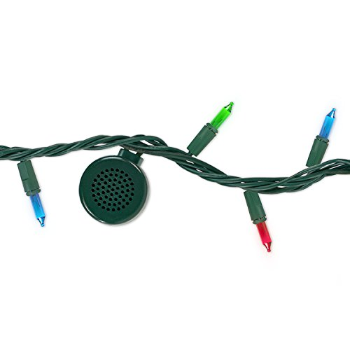 Bright Tunes Decorative String Lights with Bluetooth Speakers, Traditional Tip 5-color Incandescent, Green Cord